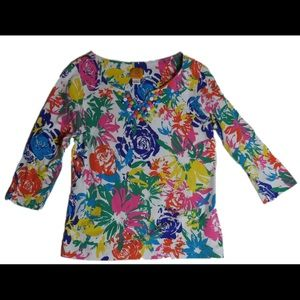 RUBY RD SMALL V TOP JEWEL MULTI COLOR LONG SLEEVE